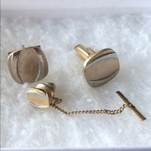 Vintage Cuff Links & tie pin Gold Silver